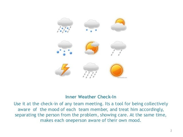 2 Inner Weather Check-In Use it at the check-in of any team meeting. Its a tool for being collectively aware of the mood o...