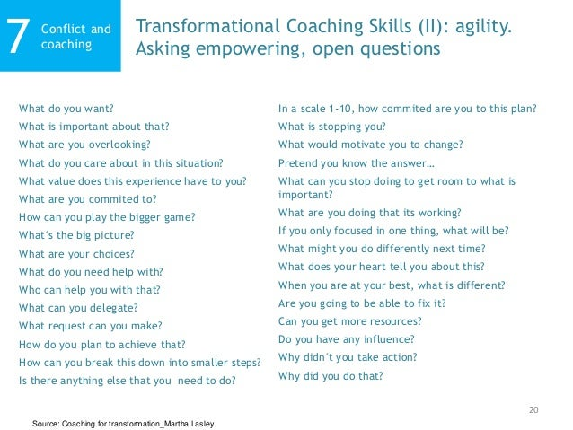20 Conflict and coaching7 Transformational Coaching Skills (II): agility. Asking empowering, open questions Source: Coachi...