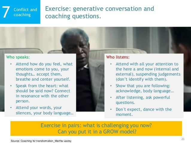 21 Conflict and coaching7 Exercise: generative conversation and coaching questions. Source: Coaching for transformation_Ma...