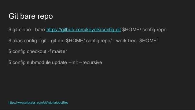 """Git bare repo $ git clone --bare https://github.com/keyolk/config.git $HOME/.config.repo $ alias config=""""git --git-dir=$HO..."""