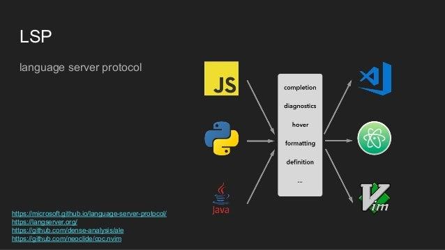 LSP language server protocol https://microsoft.github.io/language-server-protocol/ https://langserver.org/ https://github....