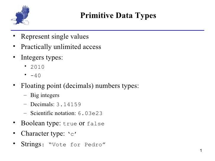 Primitive Data Types <ul><li>Represent single values </li></ul><ul><li>Practically unlimited access </li></ul><ul><li>Inte...