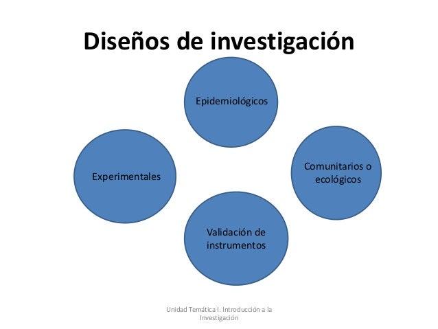 Diseños de investigación                           Epidemiológicos                                                        ...