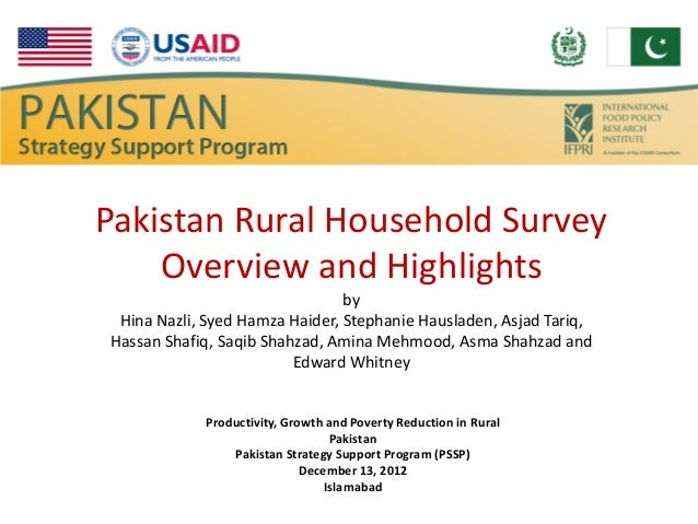Pakistan Rural Household Survey    Overview and Highlights                                by Hina Nazli, Syed Hamza Haider...