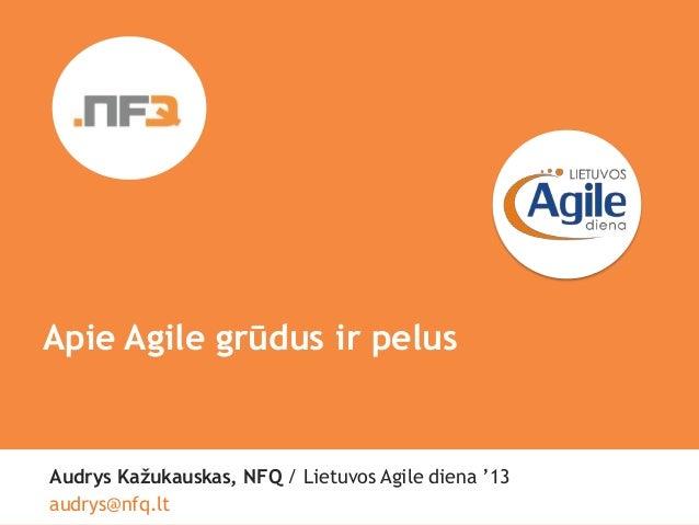 "SmileApie Agile grūdus ir pelusAudrys Kažukauskas, NFQ / Lietuvos Agile diena ""13аudrys@nfq.lt"