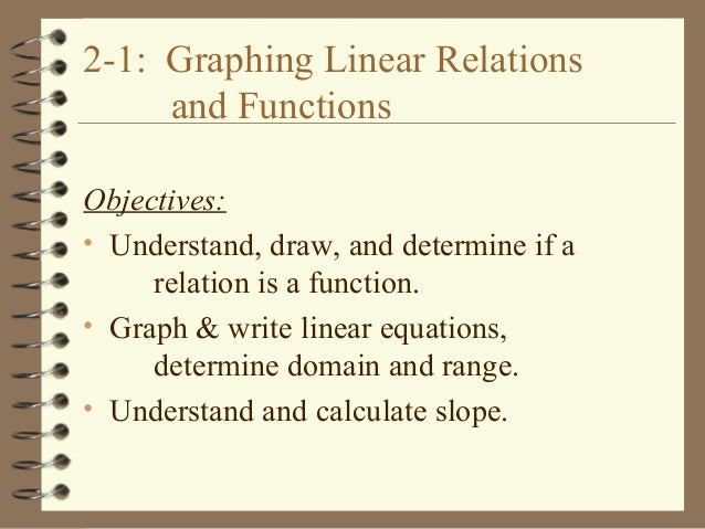 2-1: Graphing Linear Relations and Functions Objectives: • Understand, draw, and determine if a relation is a function. • ...