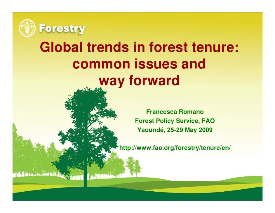 Global trends in forest tenure:     common issues and          way forward                      Francesca Romano          ...