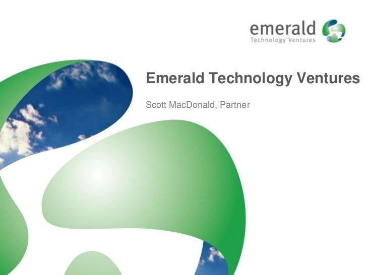 Emerald Technology VenturesScott MacDonald, Partner