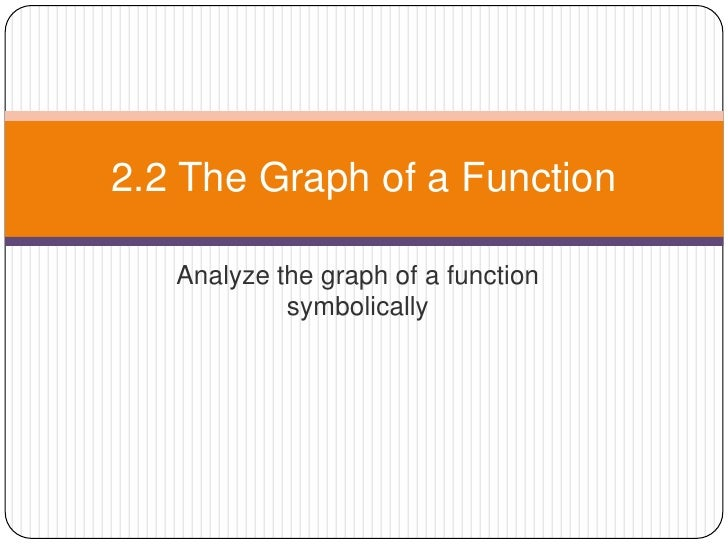 Analyze the graph of a function symbolically<br />2.2 The Graph of a Function<br />