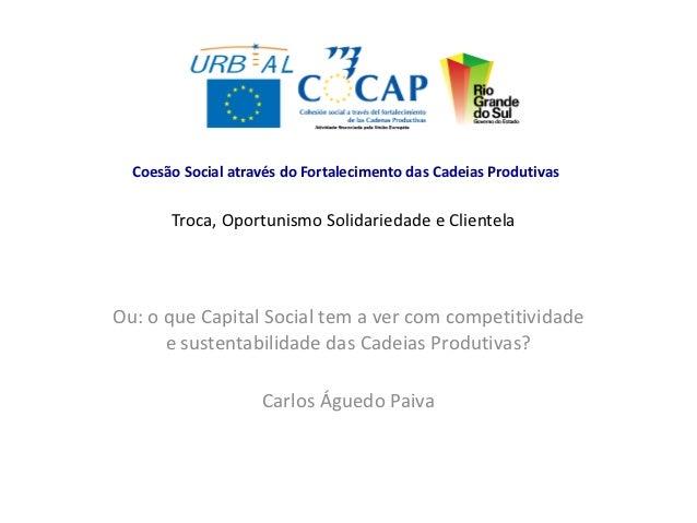 Coesão Social através do Fortalecimento das Cadeias Produtivas       Troca, Oportunismo Solidariedade e ClientelaOu: o que...