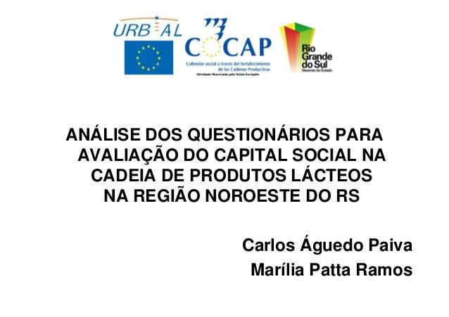 ANÁLISE DOS QUESTIONÁRIOS PARA AVALIAÇÃO DO CAPITAL SOCIAL NA  CADEIA DE PRODUTOS LÁCTEOS   NA REGIÃO NOROESTE DO RS      ...