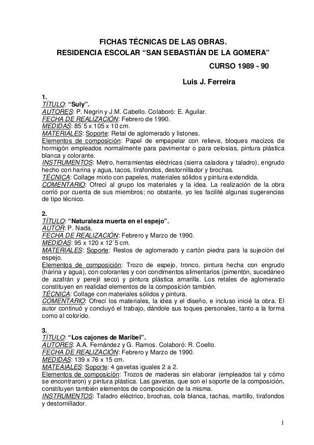 """FICHAS TÉCNICAS DE LAS OBRAS.     RESIDENCIA ESCOLAR """"SAN SEBASTIÁN DE LA GOMERA""""                                         ..."""