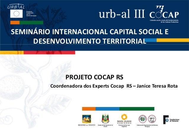 SEMINÁRIO INTERNACIONAL CAPITAL SOCIAL E     DESENVOLVIMENTO TERRITORIAL                PROJETO COCAP RS          Coordena...