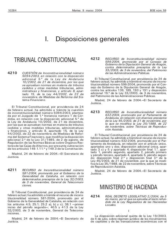 10284 Martes 9 marzo 2004 BOE núm. 59 I. Disposiciones generales TRIBUNAL CONSTITUCIONAL 4210 CUESTIÓN de Inconstitucional...