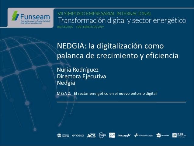 NEDGIA: la digitalización como palanca de crecimiento y eficiencia Nuria Rodríguez Directora Ejecutiva Nedgia MESA 2: El s...