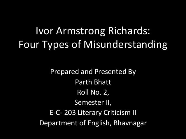 Ivor Armstrong Richards: Four Types of Misunderstanding Prepared and Presented By Parth Bhatt Roll No. 2, Semester II, E-C...