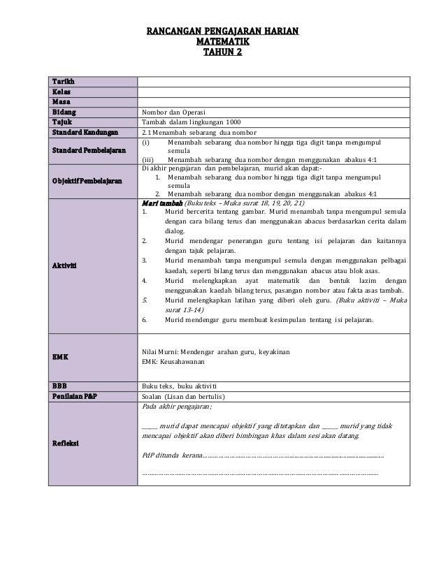 RANCANGAN PENGAJARAN HARIAN MATEMATIK TAHUN 2 Tarikh Kelas Masa Bidang Nombor dan Operasi Tajuk Tambah dalam lingkungan 10...