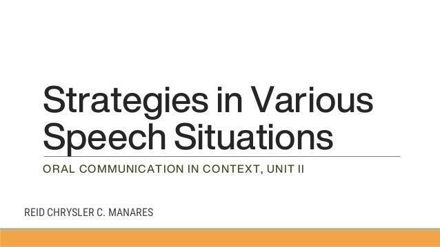 2 strategies in various speech situations 1 638