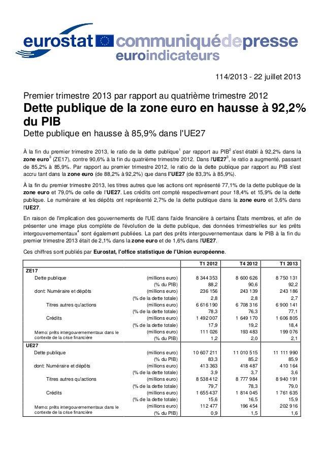 114/2013 - 22 juillet 2013 Premier trimestre 2013 par rapport au quatrième trimestre 2012 Dette publique de la zone euro e...