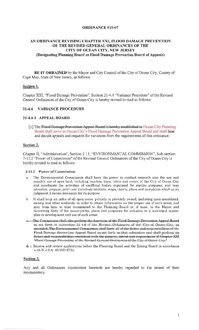 ORDINANCE #15-07  AN ORDINANCE REVISING CHAPTER XXI,  FLOOD DAMAGE PREVENTION OF THE REVISED GENERAL ORDINANCES OF THE CIT...