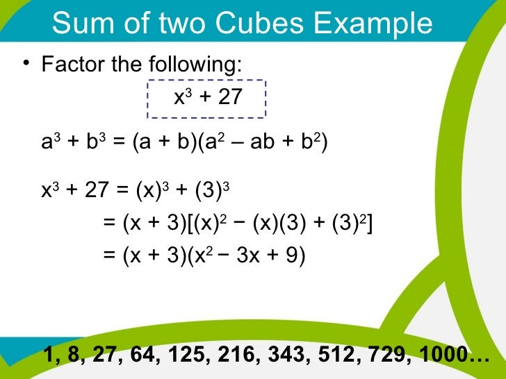 22712 Special Factoring Sum Difference Of Two Cubes