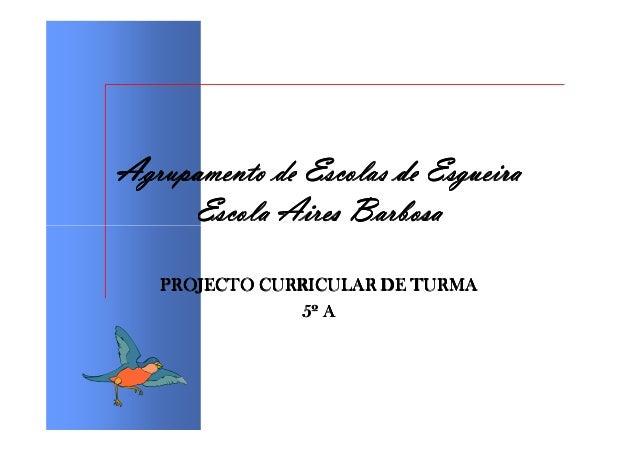 Agrupamento de Escolas de Esgueira     Escola Aires Barbosa   PROJECTO CURRICULAR DE TURMA                5º A