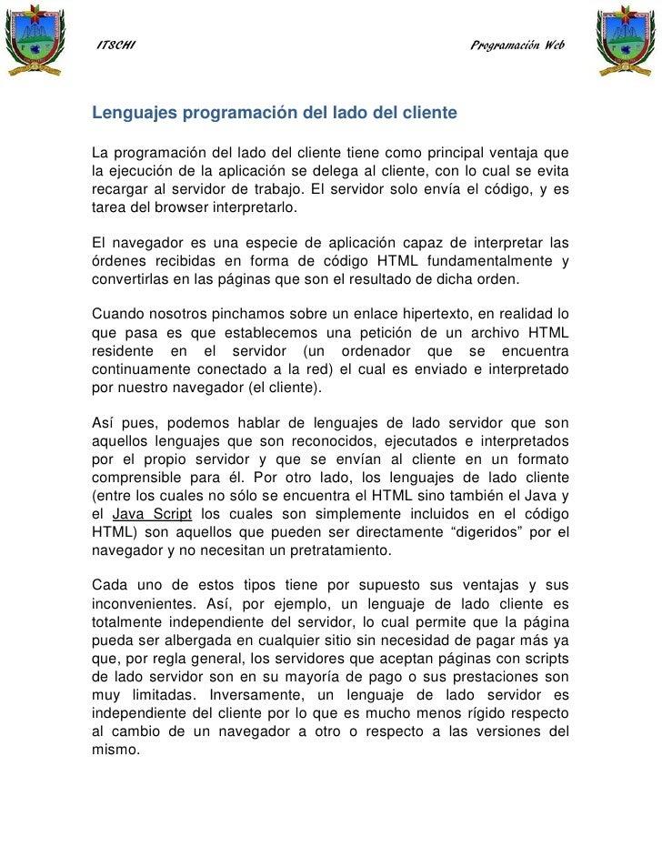 ITSCHI                                                   Programación WebLenguajes programación del lado del clienteLa pro...