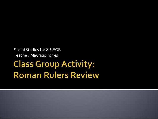 Social Studies for 8TH EGB Teacher: Mauricio Torres