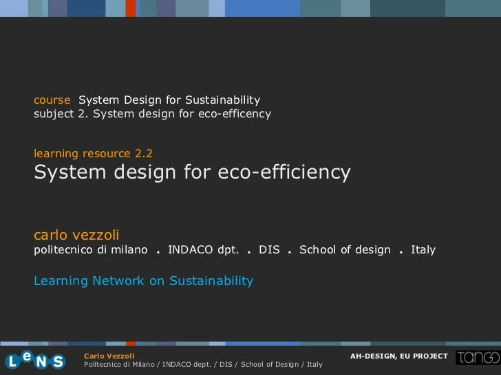 course System Design for Sustainabilitysubject 2. System design for eco-efficencylearning resource 2.2System design for ec...