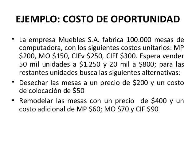 EJEMPLO: COSTO DE OPORTUNIDAD• La empresa Muebles S.A. fabrica 100.000 mesas decomputadora, con los siguientes costos unit...