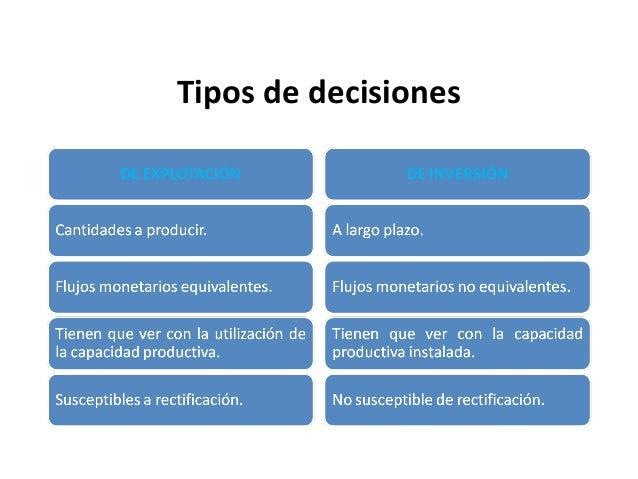 Tipos de decisiones
