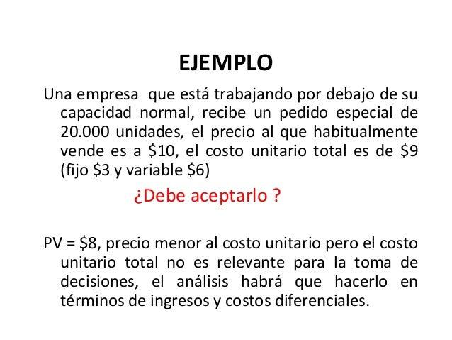EJEMPLOUna empresa que está trabajando por debajo de sucapacidad normal, recibe un pedido especial de20.000 unidades, el p...