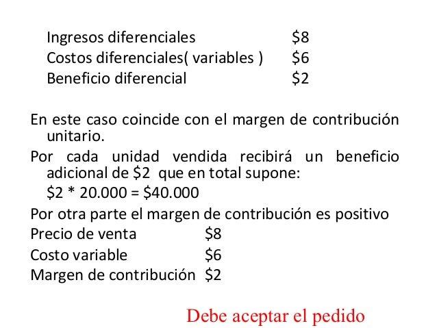 Ingresos diferenciales $8Costos diferenciales( variables ) $6Beneficio diferencial $2En este caso coincide con el margen d...