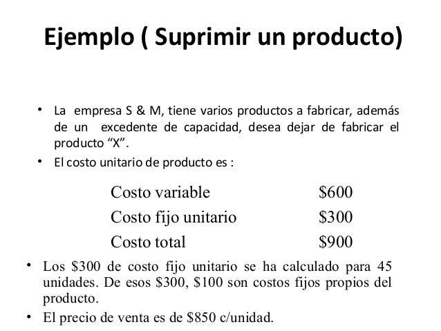 Ejemplo ( Suprimir un producto)• La empresa S & M, tiene varios productos a fabricar, ademásde un excedente de capacidad, ...