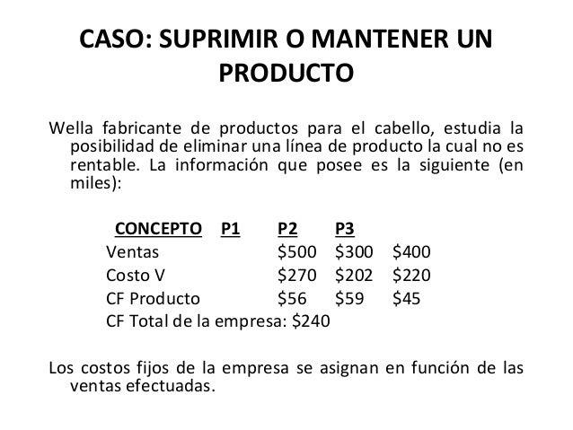 CASO: SUPRIMIR O MANTENER UNPRODUCTOWella fabricante de productos para el cabello, estudia laposibilidad de eliminar una l...