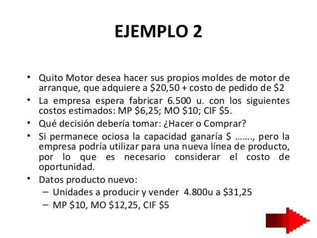 EJEMPLO 2• Quito Motor desea hacer sus propios moldes de motor dearranque, que adquiere a $20,50 + costo de pedido de $2• ...
