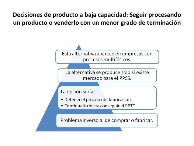 Decisiones de producto a baja capacidad: Seguir procesandoun producto o venderlo con un menor grado de terminación