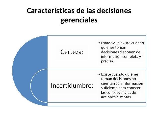 Características de las decisionesgerenciales