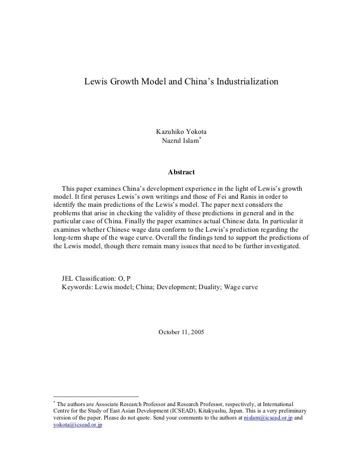 Lewis Growth Model and China's Industrialization                                              Kazuhiko Yokota             ...