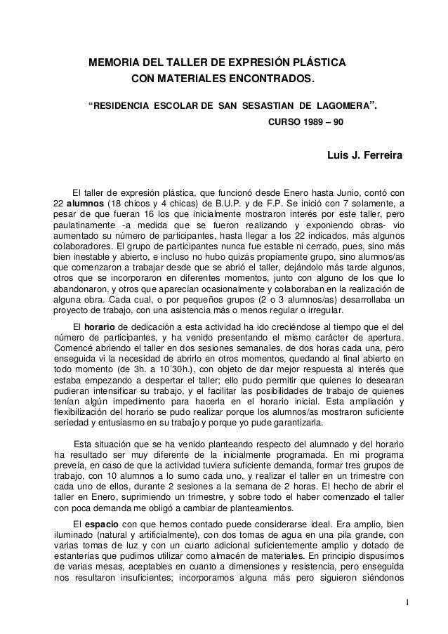 "MEMORIA DEL TALLER DE EXPRESIÓN PLÁSTICA                   CON MATERIALES ENCONTRADOS.        ""RESlDENCIA ESCOLAR DE SAN S..."