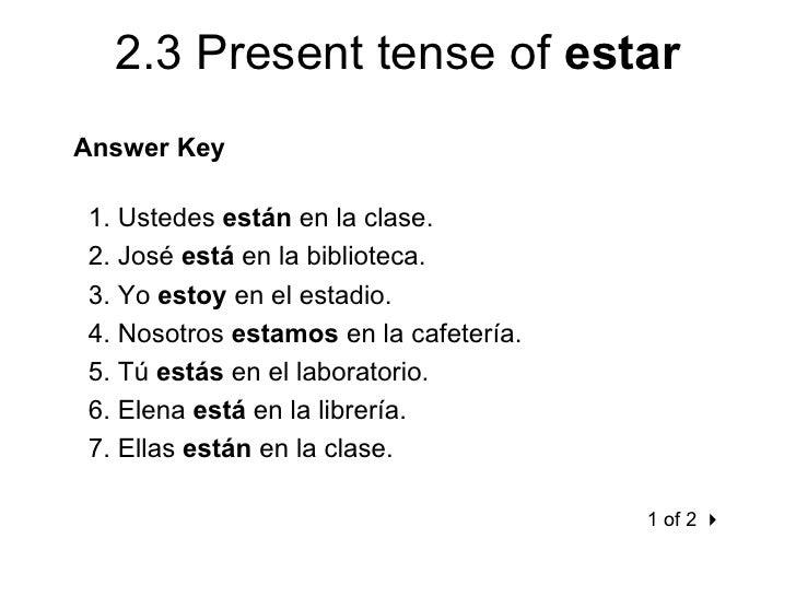 2 3 Present Tense Of Estar