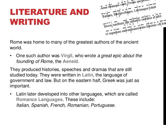 the literature of ancient rome and language Summer opportunities  and archaeology whose primary interest is in ancient greece and/or rome  latin and greek language and literature with expert teachers.