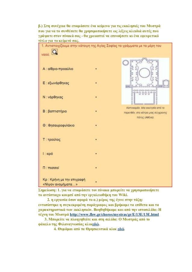 β.) Στη συνέχεια θα ετοιμάσετε ένα κείμενο για τις εκκλησιές του Μυστρά που για να το συνθέσετε θα χρησιμοποιήσετε ως λέξε...
