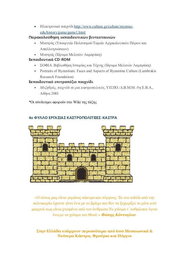 • Ηλεκτρονικό παιχνίδι http://www.culture.gr/culture/mystras- edu/history/game/game1.html Παρακολούθηση εκπαιδευτικών βιντ...