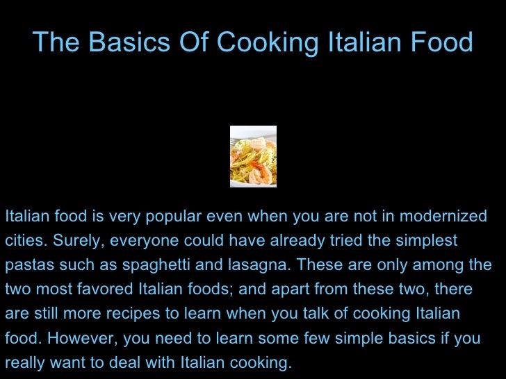 the basics of cooking italian food