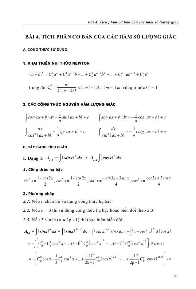 Bài 4. Tích phân cơ bản của các hàm số lượng giác BÀI 4. TÍCH PHÂN CƠ BẢN CỦA CÁC HÀM SỐ LƯỢNG GIÁCA. CÔNG THỨC SỬ DỤNG1. ...