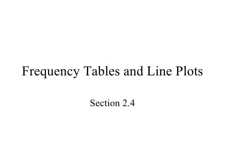 Frequency Tables and Line Plots Section 2.4