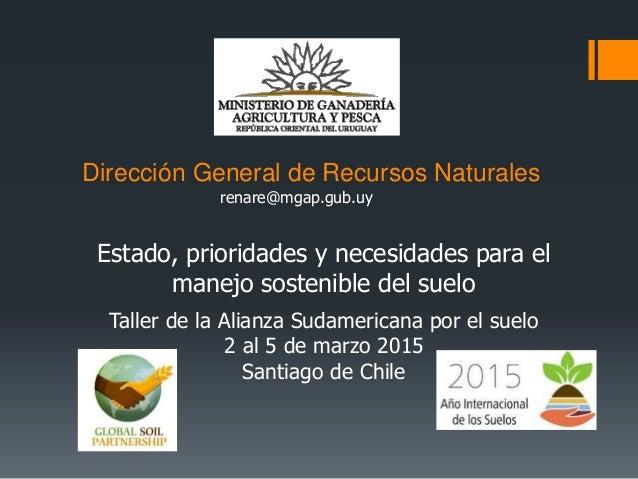 Dirección General de Recursos Naturales Estado, prioridades y necesidades para el manejo sostenible del suelo renare@mgap....