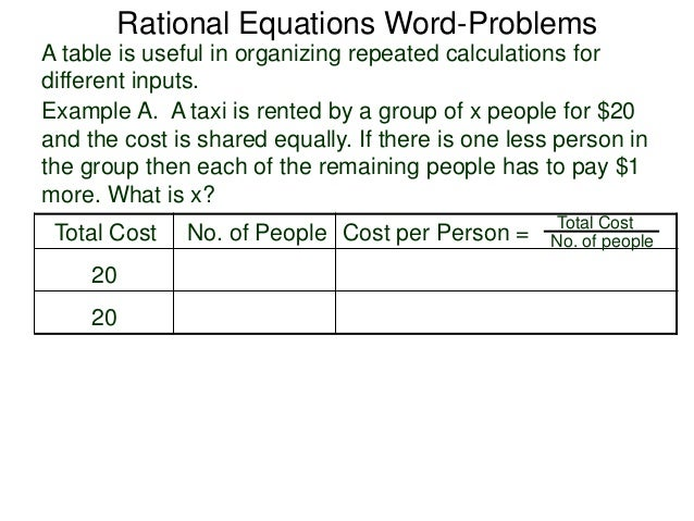 2 5 Rational Equations Word Problems