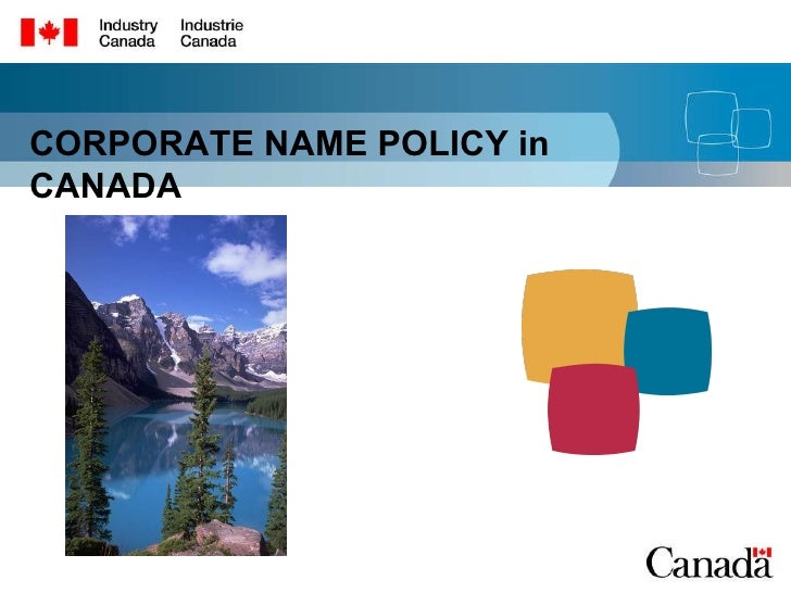 CORPORATE NAME POLICY in CANADA